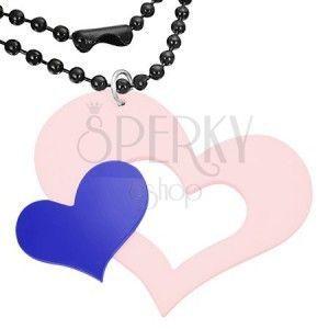 Różowo-niebieska zawieszka z akrylu, duże i małe serce obraz
