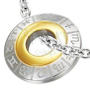 Zawieszka ze stali chirurgicznej, znaki zodiaku, srebrny i złoty kolor obraz