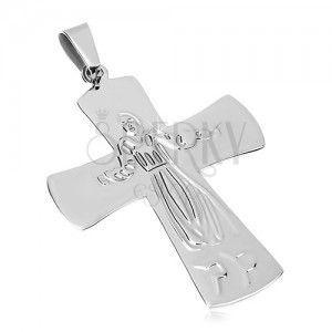 Zawieszka ze stali chirurgicznej Jezus na krzyżu, srebrny kolor obraz
