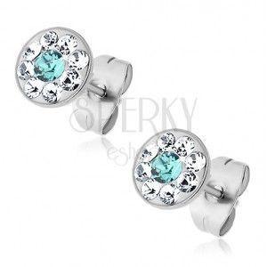 Stalowe kolczyki z jasnoniebieskim i bezbarwnymi kryształkami Swarovski, wkręty obraz