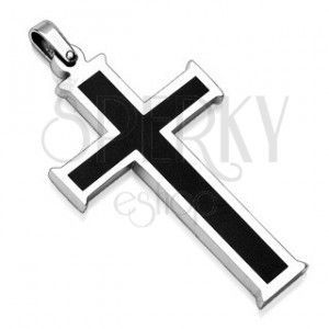 Zawieszka ze stali chirurgicznej - krzyż z czarnym środkiem obraz