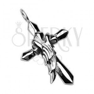 Zawieszka ze stali chirurgicznej - krzyż z skrzydłem anioła obraz