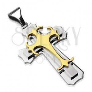 Zawieszka ze stali chirurgicznej - potrójny krzyż złotego i srebrnego koloru obraz