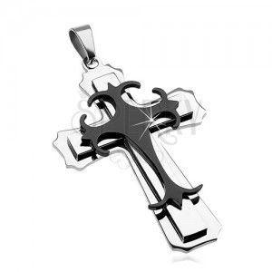 Zawieszka ze stali chirurgicznej - duży krzyż kombinacja czarnego i srebrnego koloru obraz