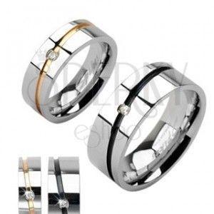 Stalowe obrączki srebrne, złoty pas, czarny pas z cyrkonią obraz