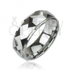 Wolframowy pierścień o oszlifowanej kwadratowej powierzchni, wysoki połysk, 8 mm obraz