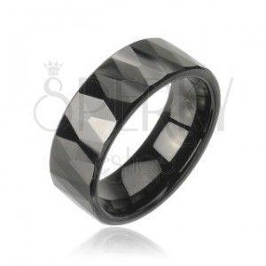 Tungsten obrączka z wzorem oszlifowanych czarnych rombów obraz