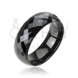 Tungsten pierścionek z wolframu, fasetowany, czarny, wzór disco obraz