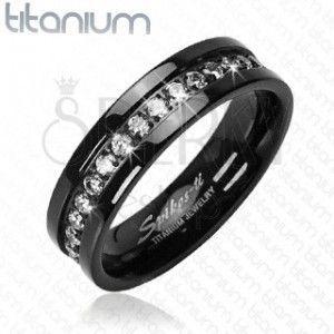Pierścionek z tytanu - czarny pas, cyrkonia obraz