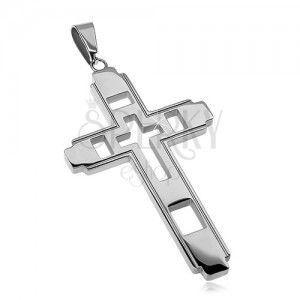Zawieszka ze stali chirurgicznej, duży krzyż z rzeźbionym krzyżem obraz
