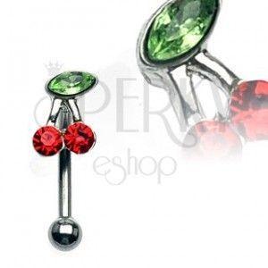 Kolczyk do brwi - wisienki z zielonymi i czerwonymi cyrkoniami obraz