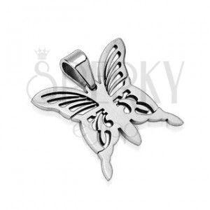 Zawieszka ze stali chirurgicznej - srebrny motyl obraz