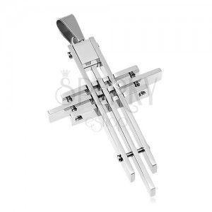 Zawieszka ze stali chirurgicznej, krzyż poskładany z cienkich prostokątów obraz