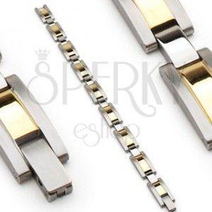 Stalowa bransoletka, ogniwa srebrnego i złotego koloru, matowe krawędzie obraz