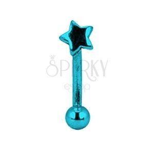 Kolczyk do brwi tytanowy anodyzowany - niebieska gwiazda obraz