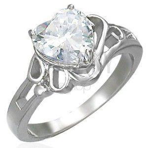 Damski lśniący stalowy pierścionek, duże bezbarwne cyrkoniowe serce obraz
