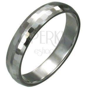 Wolframowy pierścionek z delikatnie oszlifowanymi prostokątami, 3 mm obraz
