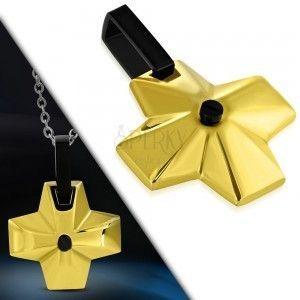 Stalowa zawieszka - szeroki krzyż złotego koloru z czarnym oczkiem pośrodku obraz