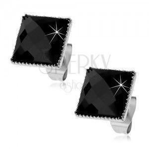Kolczyki ze stali 316L, czarny oszlifowany kwadrat otoczony drobnymi nacięciami obraz