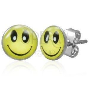 Stalowe kolczyki z zapięciem na sztyft, żółty uśmiech obraz