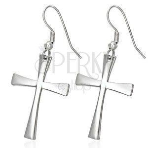 Kolczyki ze stali chirurgicznej z krzyżem, srebrny kolor, bigle obraz