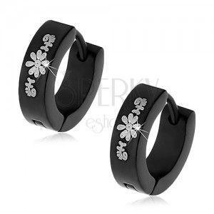 Czarne okrągłe kolczyki ze stali chirurgicznej ze wzorem kwiatów obraz