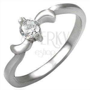 Zaręczynowy stalowy pierścionek z cyrkonią i listkami na krawędziach obraz