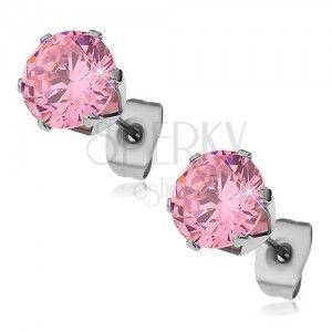 Kolczyki ze stali 316L z różową cyrkonią, 8 mm obraz