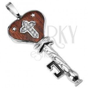 Stalowa zawieszka drewniany klucz z gwiazdeczkami obraz