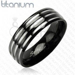 Tytanowa obrączka - z trzema srebrnymi prążkami, czarna obraz