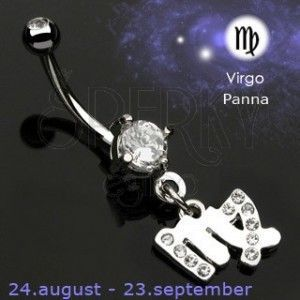 Piercing do pępka zawieszka znak zodiaku - Panna obraz