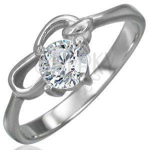 Zaręczynowy pierścionek ze stali chirurgicznej z cyrkonią bezbarwnego koloru i dwiema pętelkami obraz