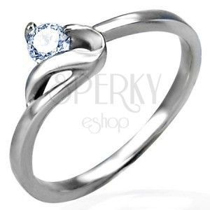 Zaręczynowy pierścionek srebrnego koloru, stal 316L, okrągła bezbarwna cyrkonia i faliste ramię obraz