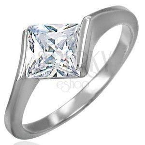 Zaręczynowy stalowy pierścionek z cyrkoniowym rombem bezbarwnego koloru obraz