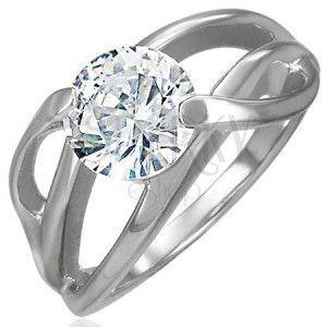 Zaręczynowy pierścionek z poprzecznym uchwytem i okrągłą bezbarwną cyrkonią, stal 316L obraz