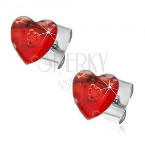 Stalowe kolczyki serce z rozciągniętymi kwiatkami obraz