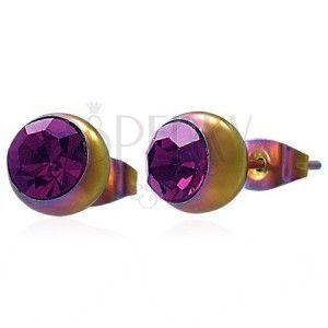 Kolczyki ze stali 316L, tęczowe kuleczki z różowo-fioletową cyrkonią obraz