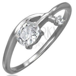Pierścionek zaręczynowy - przeplatana cyrkoniowa strzałka obraz