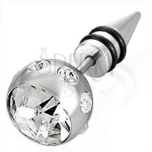 Fałszywy piercing duża kulka z cyrkonią obraz