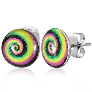 Kolczyki ze stali kolorowa spirala obraz