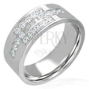 Stalowy pierścionek z cyrkoniami z napisem LOVE obraz