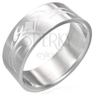 Lśniący stalowy pierścionek z matowym symbolem obraz