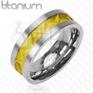 Tytanowa obrączka srebrno - złoty wzór obraz
