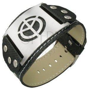 Czarna bransoletka PVC symbol pokoju obraz