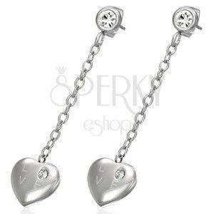 Wiszące stalowe kolczyki - serce z cyrkonią, napis LOVE obraz