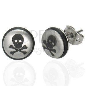 Stalowe kolczyki srebrnego koloru, kuleczka z czaszką i czarną gumeczką obraz