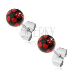 Stalowe kolczyki, czarno-czerwone kuleczki, zapięcie na sztyft obraz
