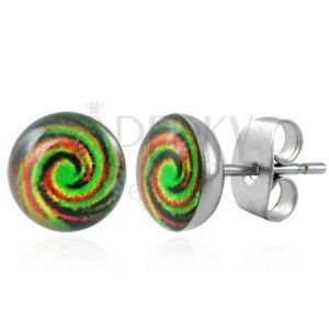 Stalowe kolczyki - GAY PRIDE - tęczowa spirala, wkręty obraz