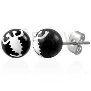 Czarne kolczyki ze stali - biały skorpion obraz