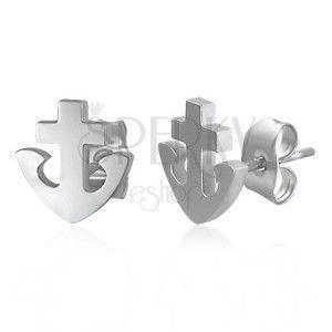 Kolczyki ze stali 316L - kotwica i krzyż, srebrny kolor, wkręty obraz